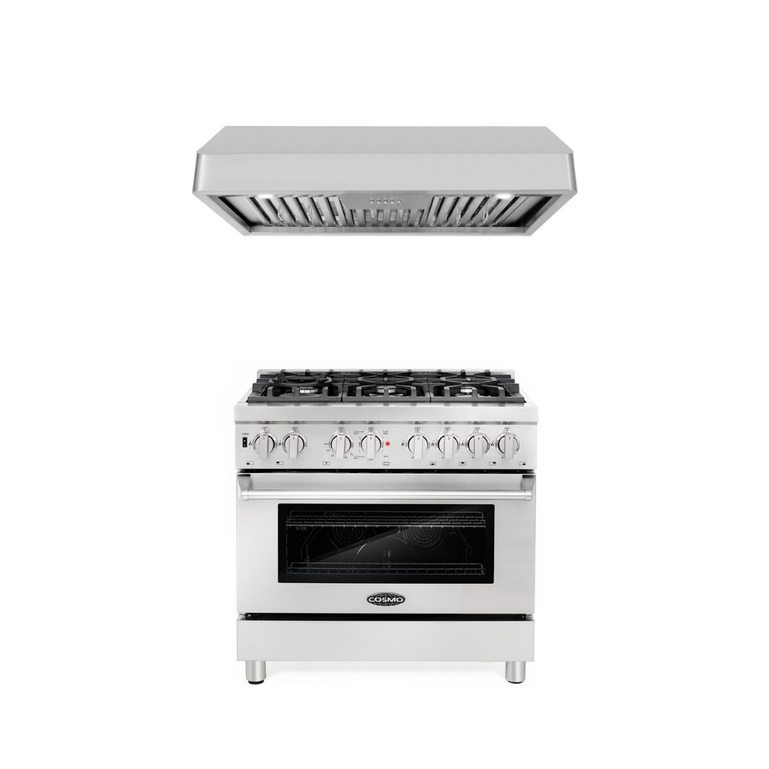 Cosmo 2 Piece Kitchen Appliance Package - Dual Fuel Range And Range Hood COS-DFR366/QB90