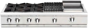 "Capital CGRT482BG2 Culinarian 48"" 4 Open Burner Rangetop With 12"" BBQ Grill + 12"" Griddle"