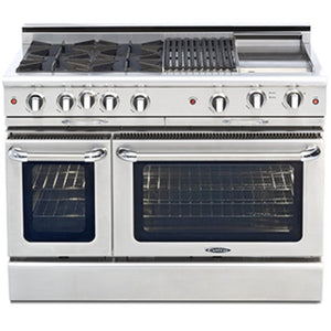 "Capital CGSR484BG Culinarian 48"" Self Clean Gas Range 4 Open Burners With 4.9 Cu. Ft. Convection Oven + 12"" BBQ Grill, 12""Griddle"
