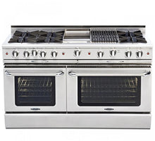 "Capital CGSR604B4 Culinarian 60"" Self Clean Gas Range 8 Open Burners With 4.9 Cu. Ft. Convection Oven + 12"" BBQ Grill"