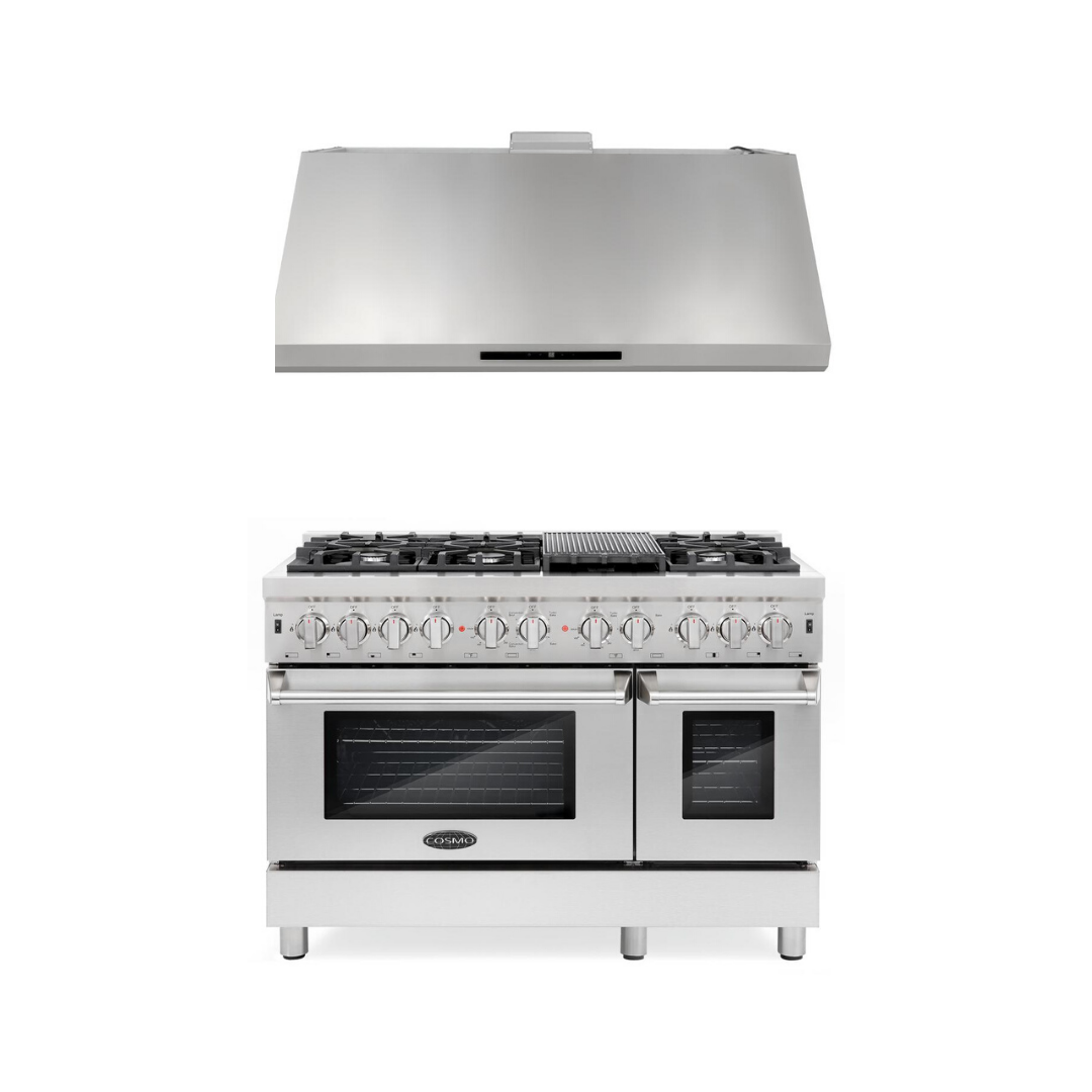 Cosmo 2 Piece Kitchen Appliance Package - Dual Fuel Range And Range Hood COS-DFR486G/18U48