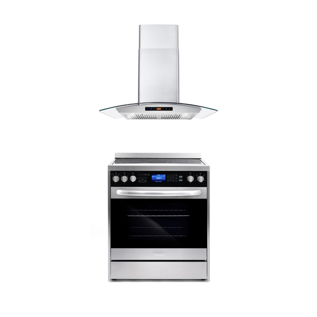 Cosmo 2 Piece Kitchen Appliance Package - Electric Range And Range Hood COS-305AERC/668AS750