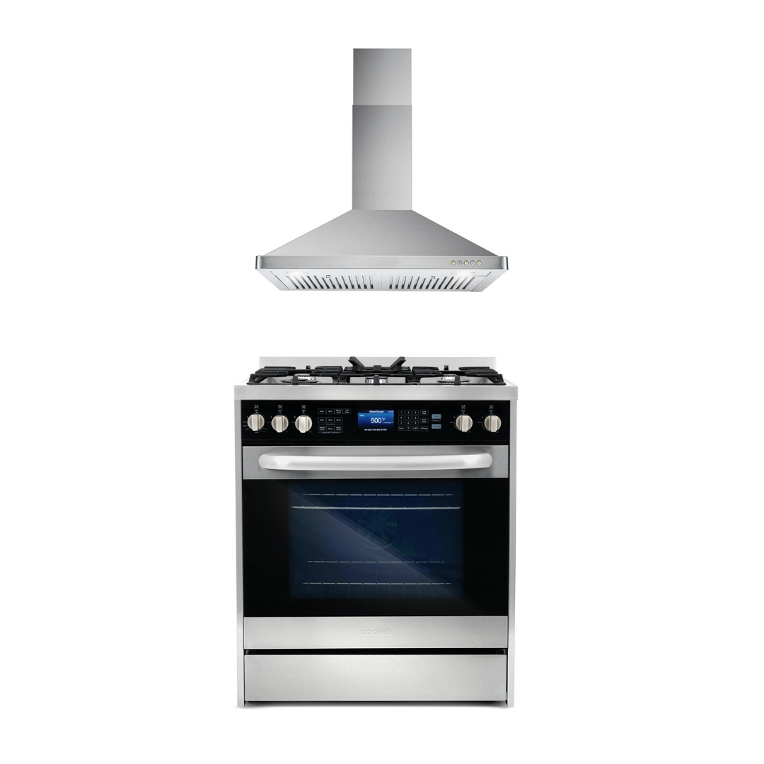 Cosmo 2 Piece Kitchen Appliance Package - Dual Fuel Range And Range Hood COS-305DFSC/63175S