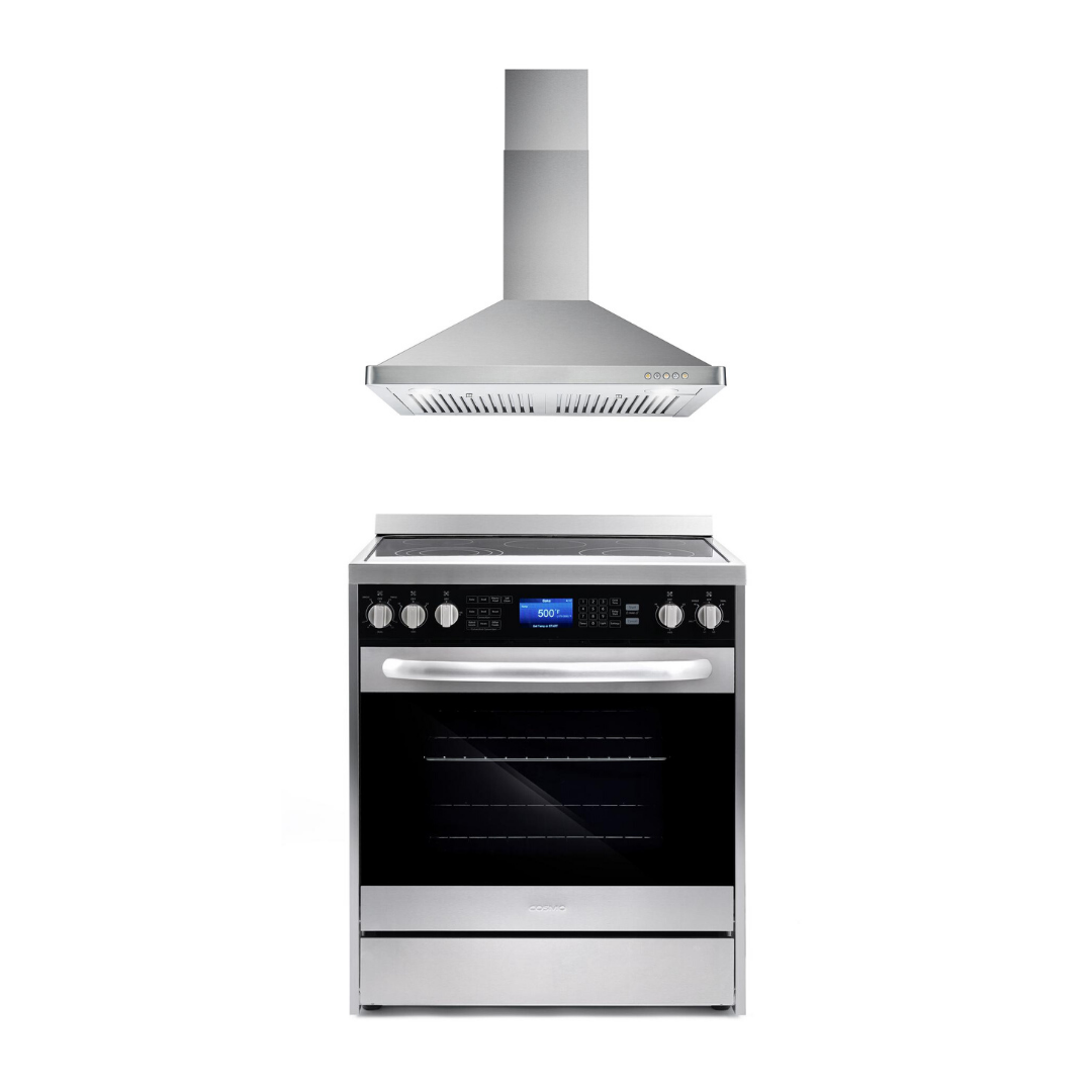 Cosmo 2 Piece Kitchen Appliance Package - Electric Range And Range Hood COS-305AERC/63175S