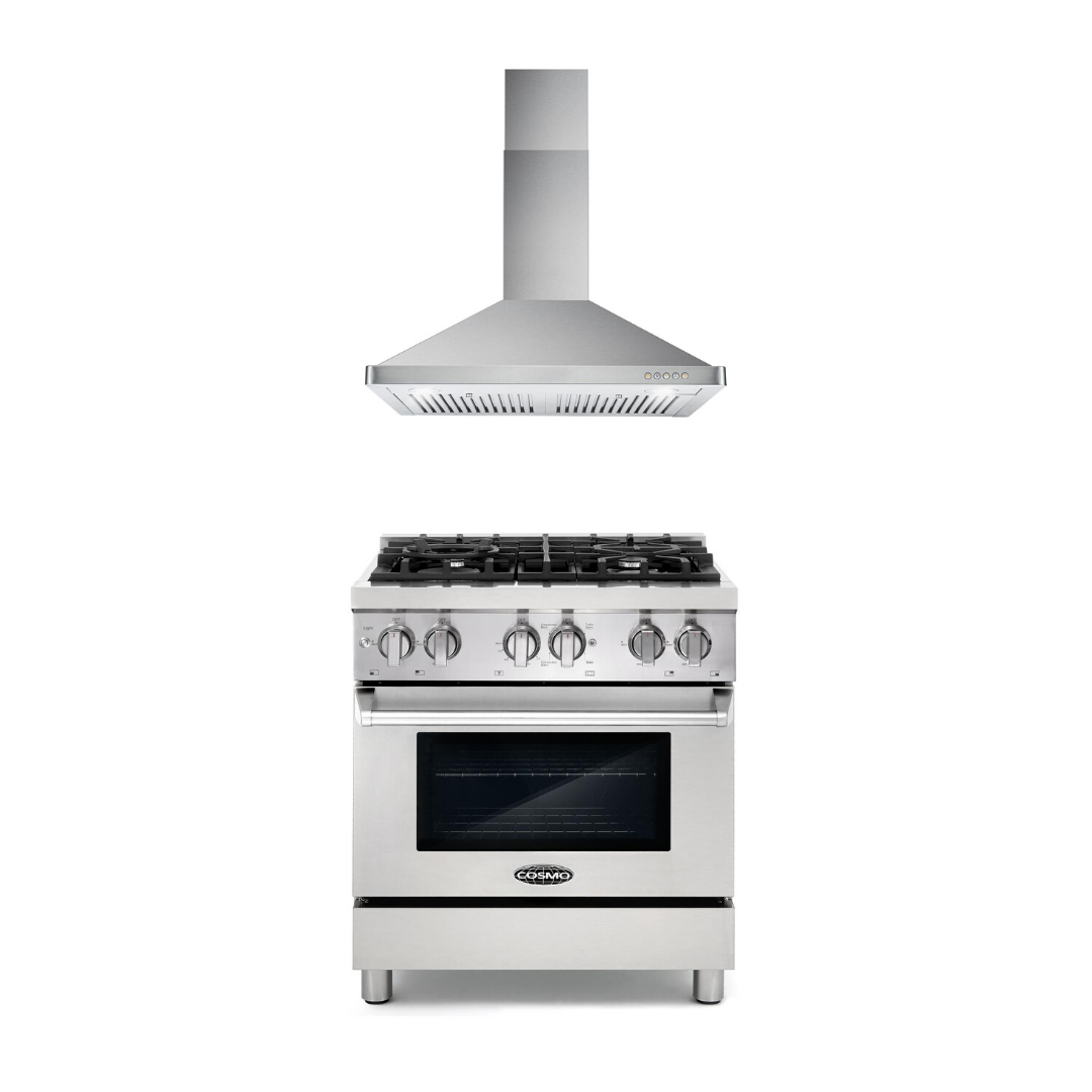 Cosmo 2 Piece Kitchen Appliance Package - Dual Fuel Range And Range Hood COS-DFR304/63175S