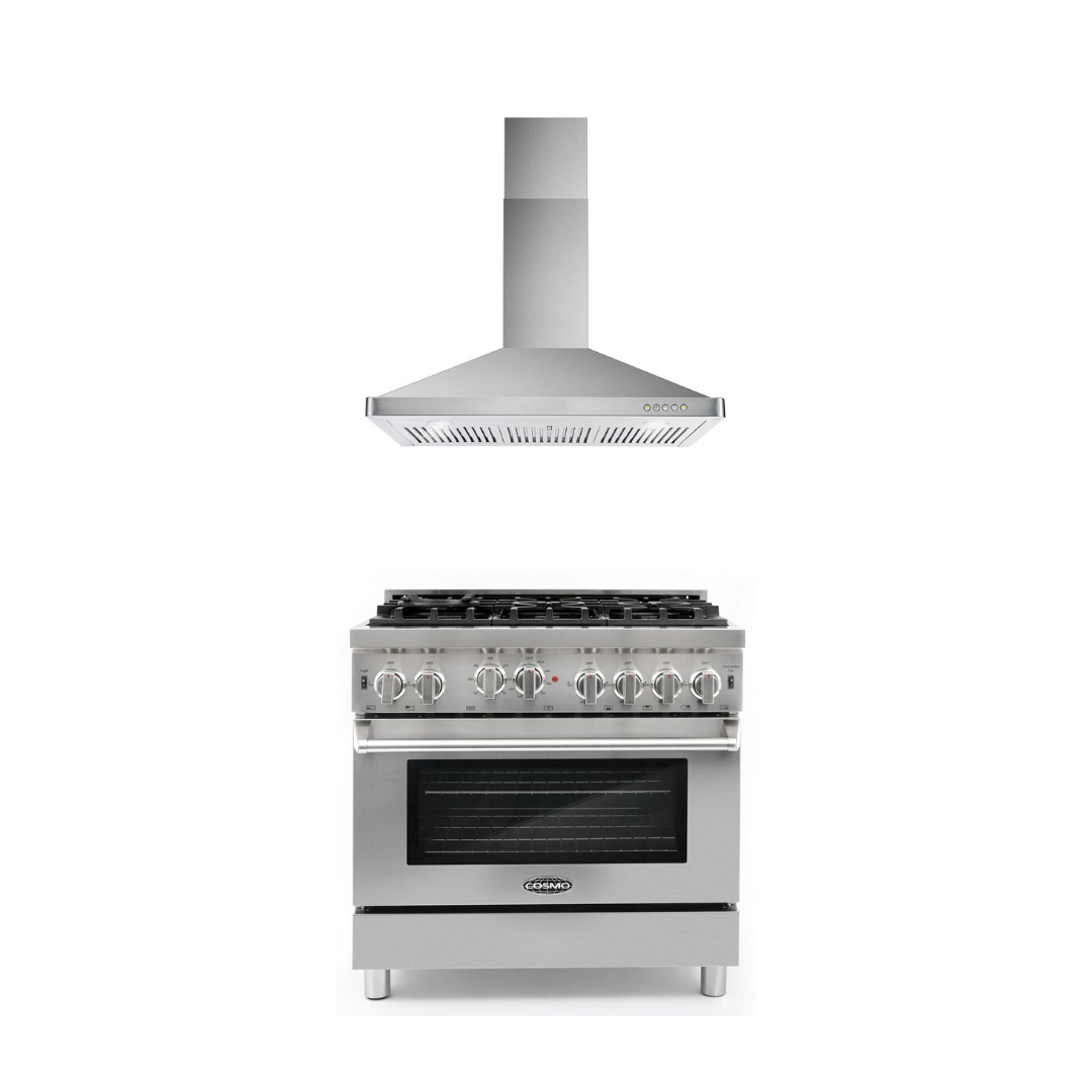 Cosmo 2 Piece Kitchen Appliance Package - Gas Range And Range Hood COS-GRP366/63190