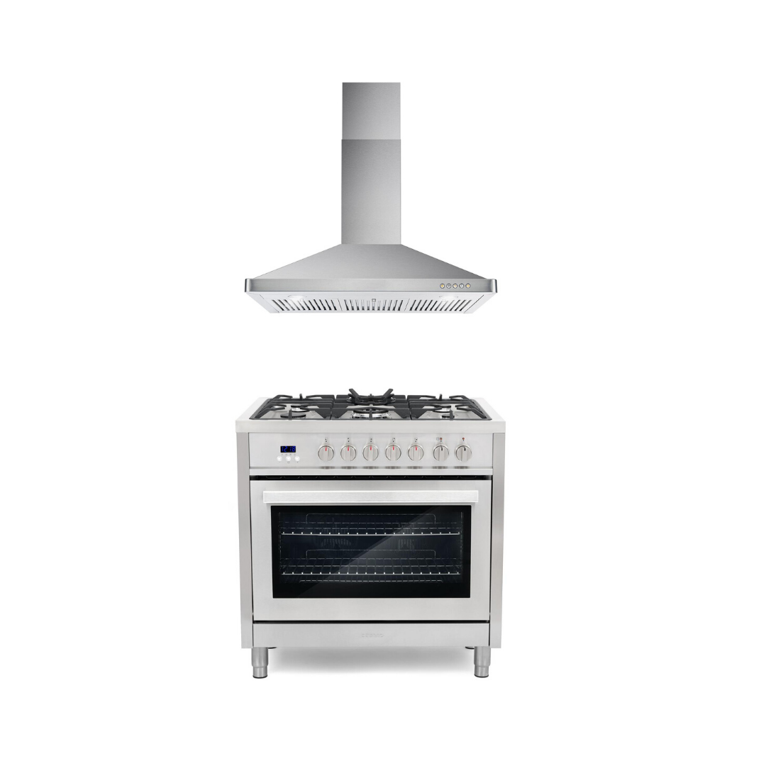 Cosmo 2 Piece Kitchen Appliance Package - Dual Fuel Range And Range Hood COS-F965/63190