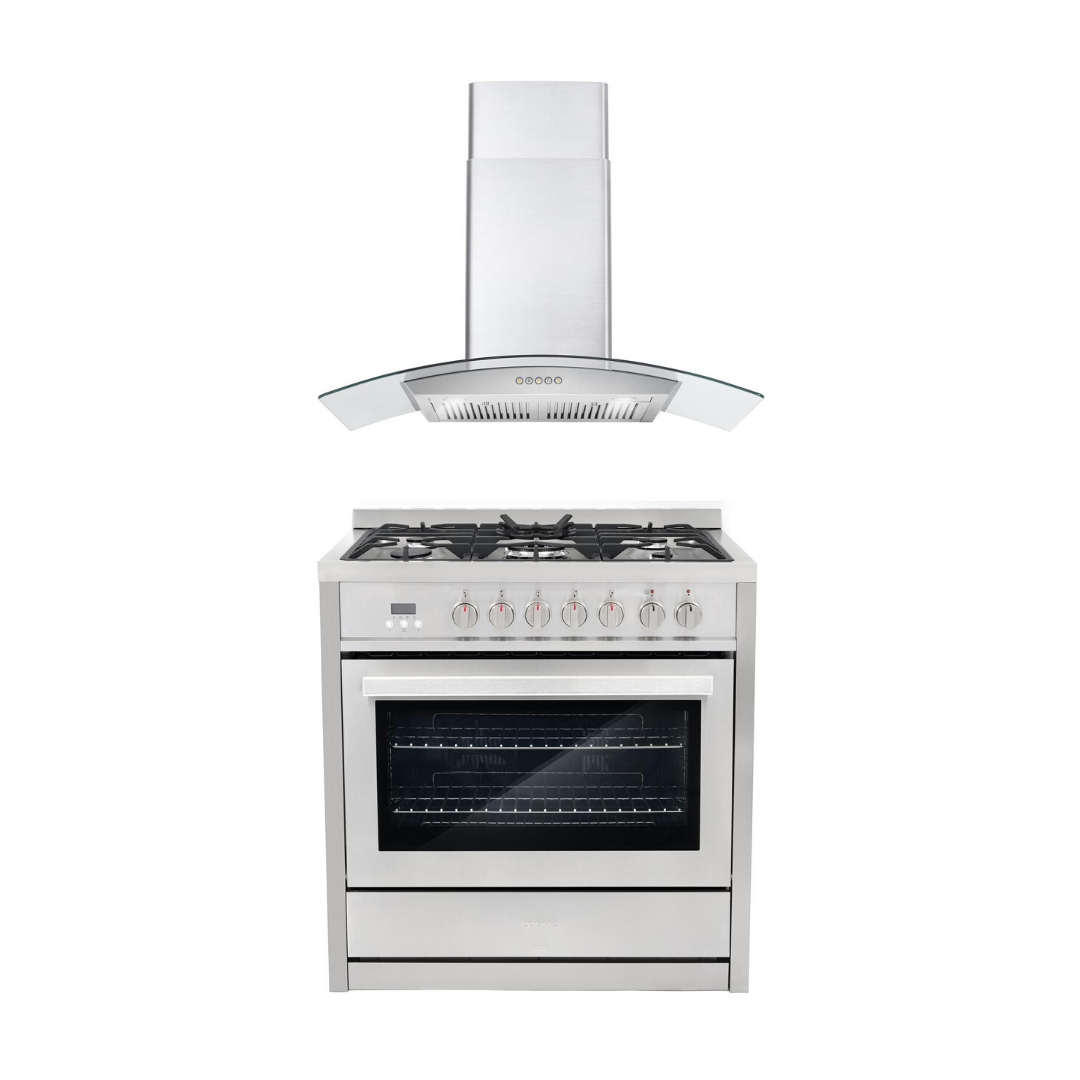 Cosmo 2 Piece Kitchen Appliance Package - Dual Fuel Range And Range Hood COS-F965NF/668A900