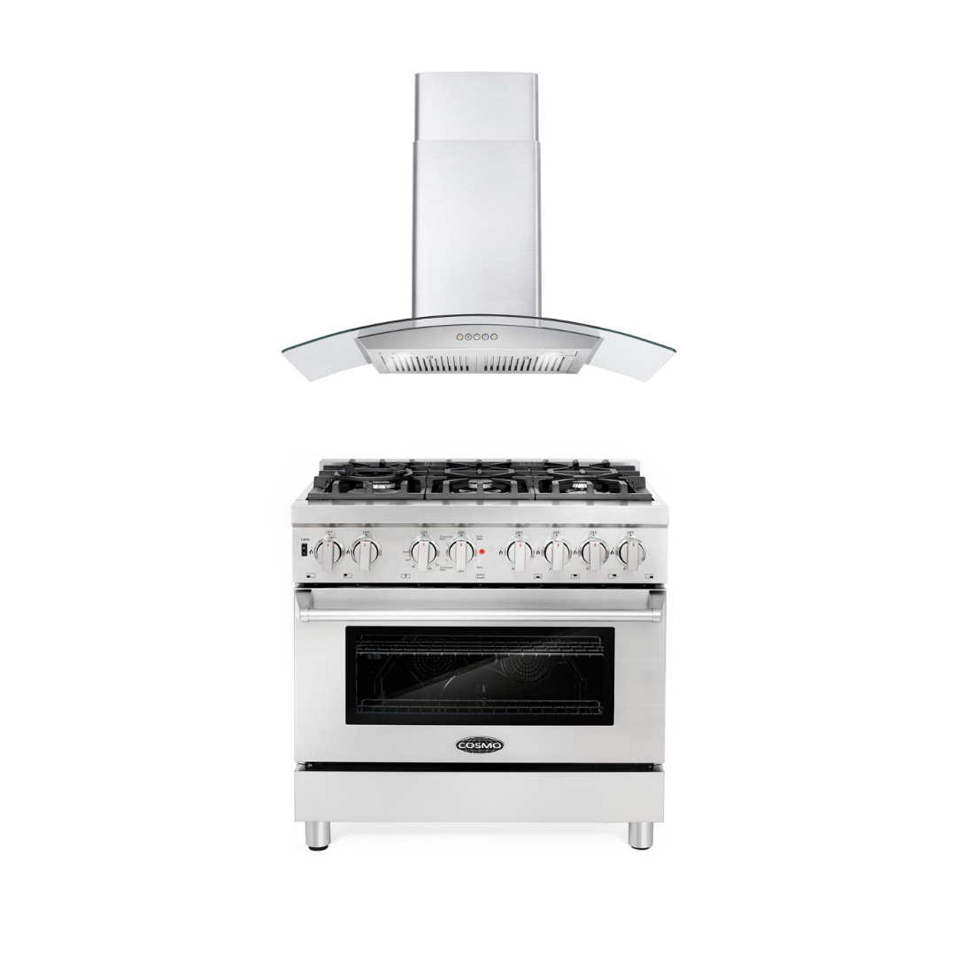 Cosmo 2 Piece Kitchen Appliance Package - Dual Fuel Range And Range Hood COS-DFR366/668A900