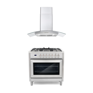 Cosmo 2 Piece Kitchen Appliance Package - Dual Fuel Range And Range Hood COS-F965/668A900