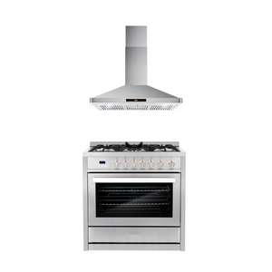 Cosmo 2 Piece Kitchen Appliance Package - Gas Range And Range Hood COS-965AGC/63190S