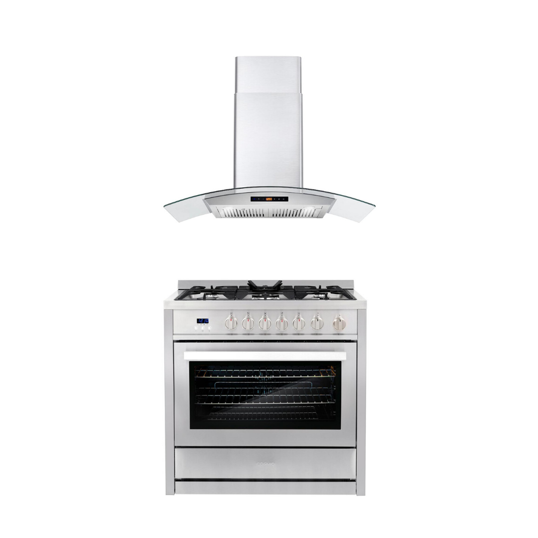 Cosmo 2 Piece Kitchen Appliance Package - Gas Range And Range Hood COS-965AGC/668AS900