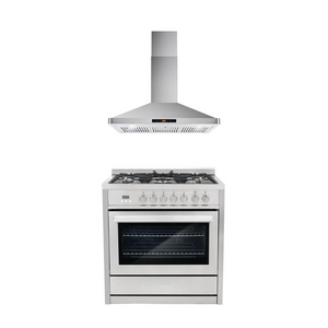 Cosmo 2 Piece Kitchen Appliance Package - Dual Fuel Range And Range Hood COS-F965NF/63190S