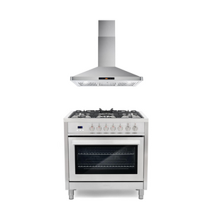 Cosmo 2 Piece Kitchen Appliance Package - Dual Fuel Range And Range Hood COS-F965/63190S