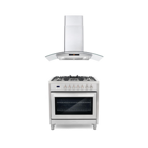 Cosmo 2 Piece Kitchen Appliance Package - Dual Fuel Range And Range Hood COS-F965/668AS900