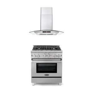 Cosmo 2 Piece Kitchen Appliance Package - Gas Range And Range Hood COS-GRP304/668AS750