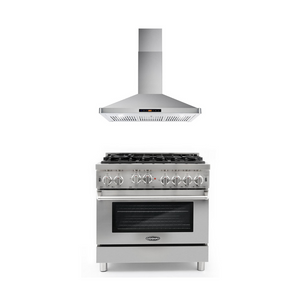 Cosmo 2 Piece Kitchen Appliance Package - Gas Range And Range Hood COS-GRP366/63190S