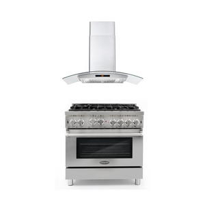 Cosmo 2 Piece Kitchen Appliance Package - Gas Range And Range Hood COS-GRP366/668AS900