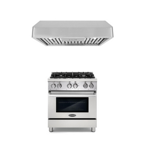 Cosmo 2 Piece Kitchen Appliance Package - Dual Fuel Range And Range Hood COS-DFR304/QB75