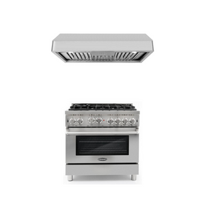 Cosmo 2 Piece Kitchen Appliance Package - Gas Range And Range Hood COS-GRP366/QB90
