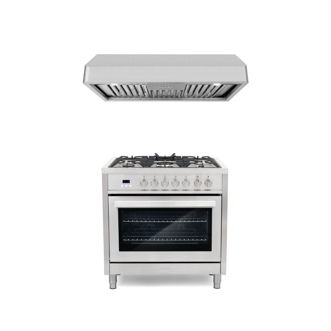 Cosmo 2 Piece Kitchen Appliance Package - Dual Fuel Range And Range Hood COS-F965/QB90
