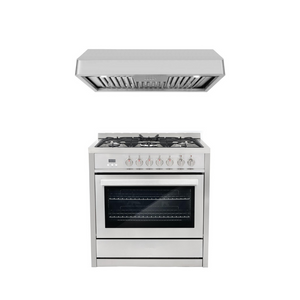 Cosmo 2 Piece Kitchen Appliance Package - Dual Fuel Range And Range Hood COS-F965NF/QB90