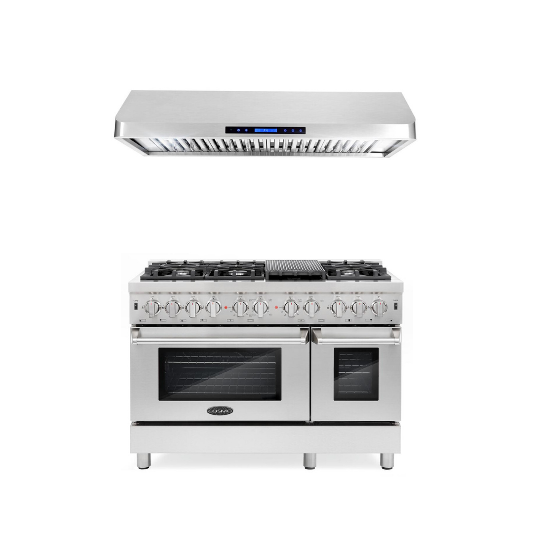 Cosmo 2 Piece Kitchen Appliance Package - Dual Fuel Range And Range Hood COS-DFR486G/QS48