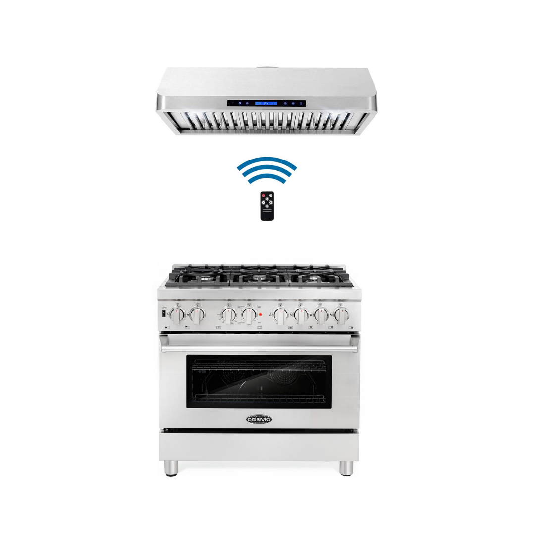 Cosmo 2 Piece Kitchen Appliance Package - Dual Range And Range Hood COS-DFR366/QS90