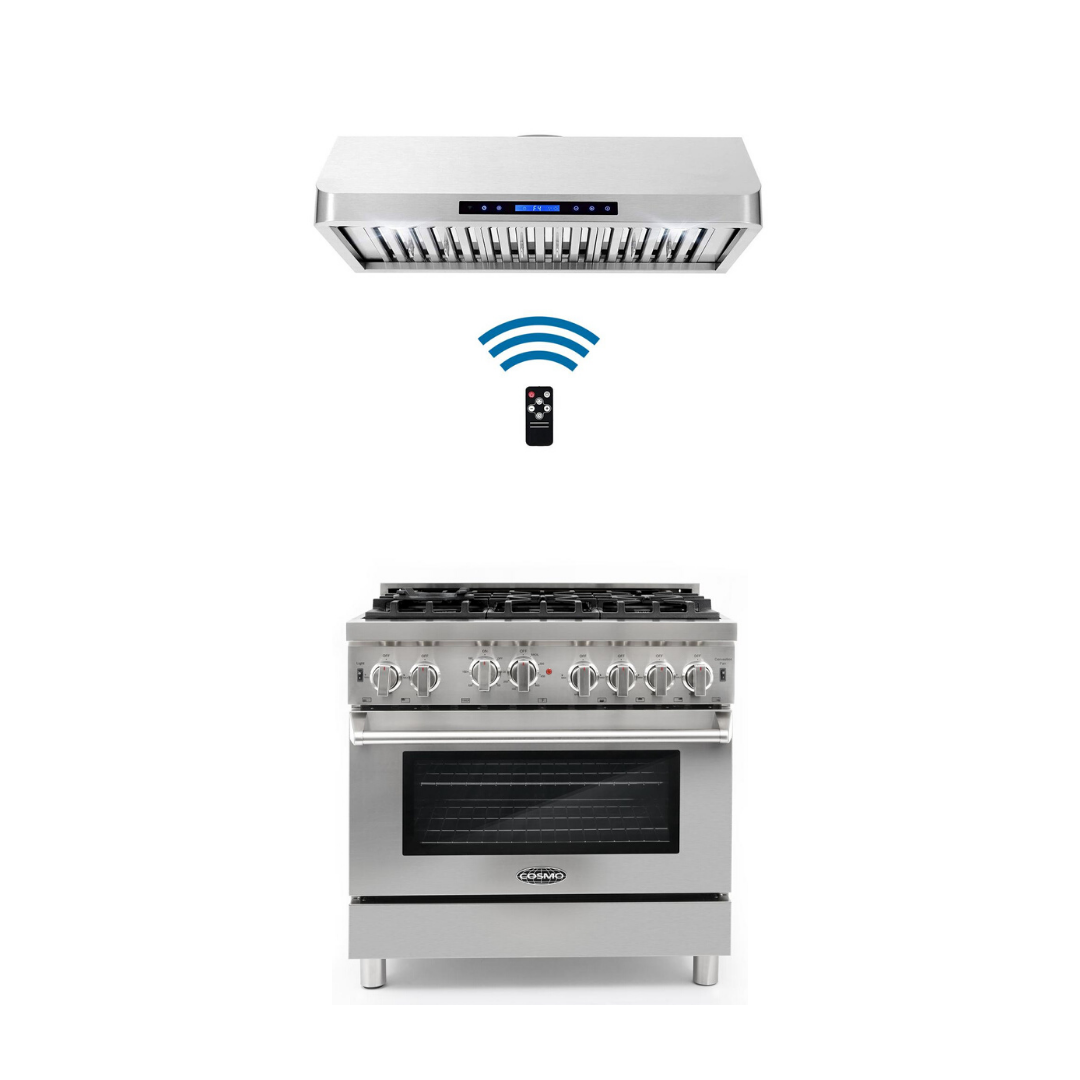 Cosmo 2 Piece Kitchen Appliance Package - Gas Range And Range Hood COS-GRP366/QS90