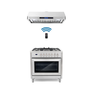 Cosmo 2 Piece Kitchen Appliance Package - Dual Fuel Range And Range Hood COS-F965/QS90