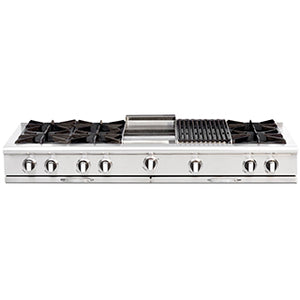 "Capital CGRT604BG2 Culinarian 60"" 6 Open Burner Rangetop With 12"" BBQ + 12"" Griddle"