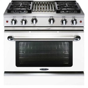 "Capital MCR364B Precision 36"" Gas Manual Clean Range 4 Sealed Burners With 4.9 Cu. Ft. Oven + 12"" BBQ Grill"
