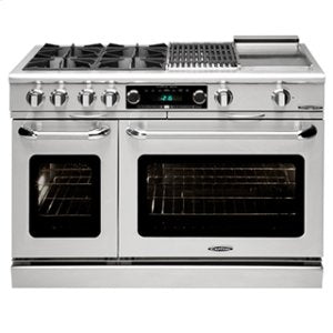 "Capital COB484BB Connoisseurian 48"" Dual Fuel Self Clean Range 4 Open Burners With 5.4 Cu. Ft. Convection Oven + 24"" BBQ Grill"