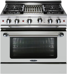 "Capital GSCR364B Precision 36"" Self Clean Gas Range 4 Sealed Burners With 4.9 Cu. Ft. Oven + 12"" BBQ Grill Burner"