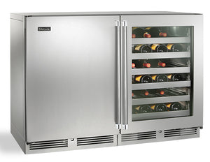 Perlick  48in Built-in Undercounter Dual Temperature Wine Reserve 80 Bottle Capacity 11.7 Cu. Ft. HP48WW-S-3-2L-4R