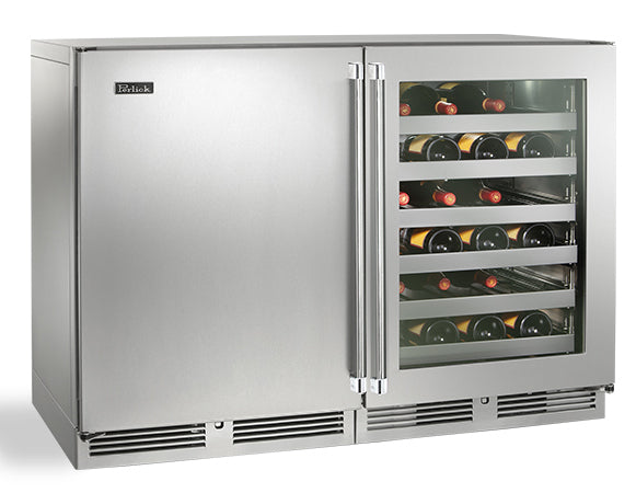 Perlick  48in Built-in Undercounter Dual Temperature Wine Reserve 80 Bottle Capacity 11.7 Cu. Ft. HP48WW-S-3-3L-1R