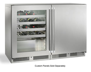 Perlick  48in Built-in Undercounter Dual Temperature Wine Reserve 80 Bottle Capacity 11.7 Cu. Ft. HP48WW-S-3-1L-3R