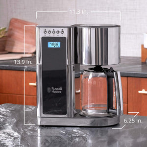 Russell Hobbs CM8100BKR Glass Series Drip Coffee Maker 8-Cup - Stainless Steel