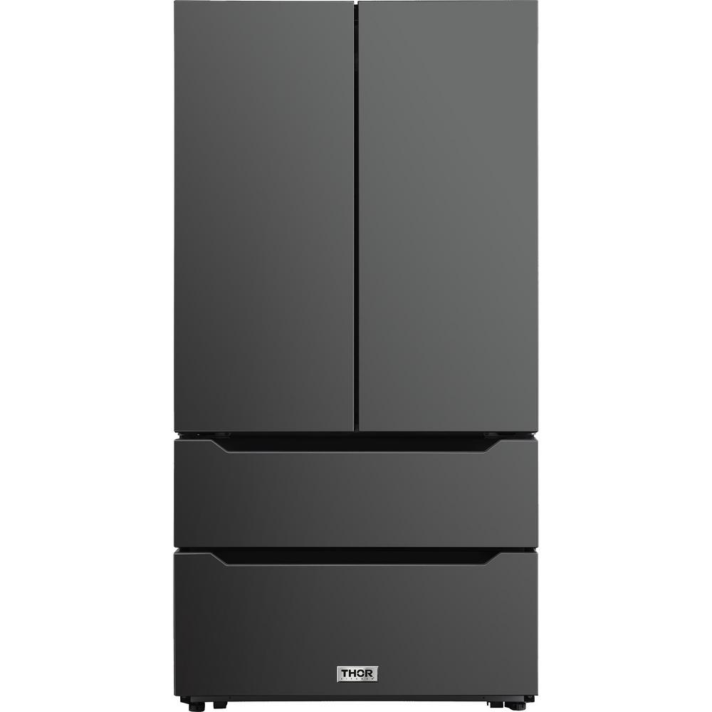 Thor 36 in. HRF3602BS Black Stainless Steel French Door Refrigerator 22.5 Cu. ft.