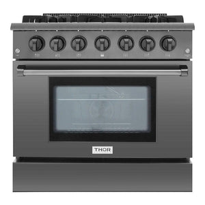 "Thor HRG3618BS 36"" Professional Gas Range Black Stainless Steel 5.2 cu. ft."