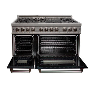 "ZLINE 48"" Double Oven Dual Fuel Range DuraSnow Stainless Steel Black Matte Door 6 cu. ft. RAS-BLM-48"