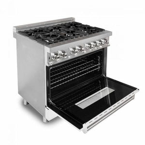 "ZLINE 36"" Single Dual Fuel Range Stainless Steel White Matte Door 4.6 cu. ft. RA-WM-36"