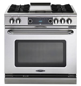 "Capital COB362B2 Connoisseurian 36"" Dual Fuel Self Clean Range 4 Open Burners With 5.4 Cu. Ft. Convection Oven + 12"" BBQ Grill"