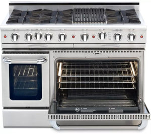"Capital CGSR484B2 Culinarian 48"" Self Clean Gas Range 6 Open Burners With 4.9 Cu. Ft. Convection Oven + 12"" BBQ Grill Burner"