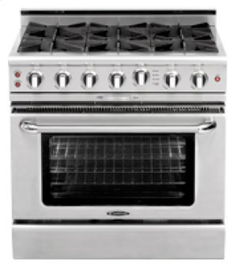 "Capital CGSR366 Culinarian 36"" Self Clean Gas Range 6 Open Burners + 4.9 Cu. Ft. Convection Oven"