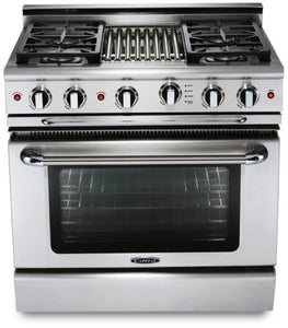 "Capital CGSR362B2 Culinarian 36"" Self Clean Gas Range 4 Open Burners With 4.9 Cu. Ft. Convection Oven + 12"" BBQ Grill Burner"