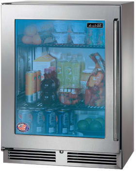 Perlick HH24RO-3-4L 24-Inch Built-In Counter Depth Outdoor Refrigerator With Panel Ready Glass Door - 3.1 Cu. Ft.