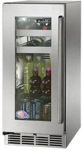 Perlick HP15BS-3-3L 15 In Built-In Undercounter Beverage Center With Stainless Steel Glass Door 2.8 Cu. Ft.