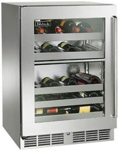 Perlick HP24DS-3-4L 24in Built-in Undercounter Dual-Zone Wine Reserve With Panel Ready Glass Door 32-Bottle Capacity 5.0 Cu. Ft.