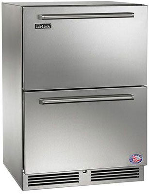 Perlick HP24RO-3-6 24-Inch Built-In Undercounter Outdoor Refrigerator Drawers Panel Ready Door- 5.2 Cu. Ft.